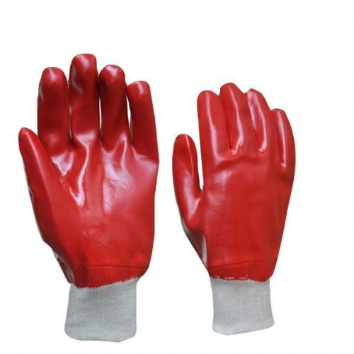 Red PVC Knitted Cuff Gloves Sz 10