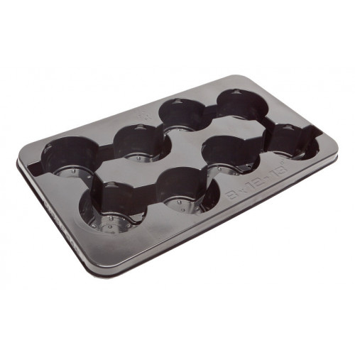Modiform EURODAN 8x12/13cm 8° Transport Tray (Base Drainage) (Black) (1400/P) - Each