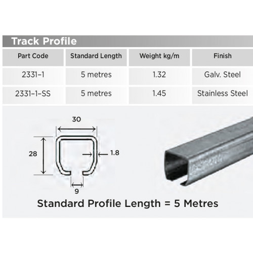 2331-1 Galvanised Steel Track Section [5m Length] - Per Metre