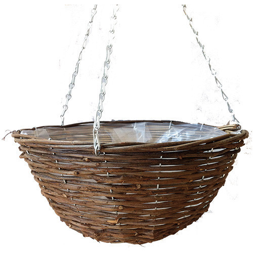 'Black Rattan' Round Hanging Basket