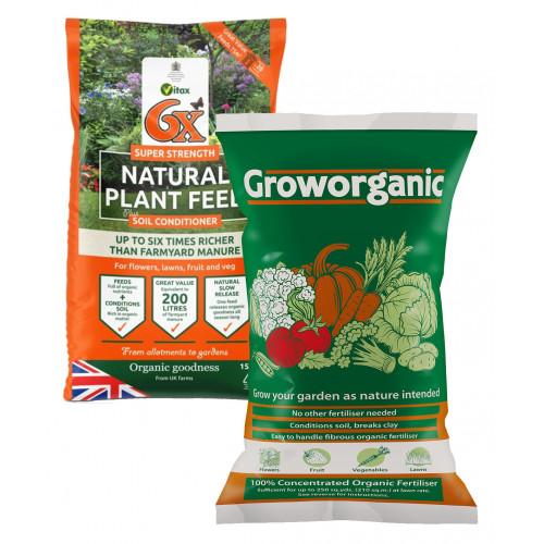 Vitax 6X Super Strength 100% Natural Plant Feed Fertiliser (Groworganic) [15K] (72/Pallet) - Each