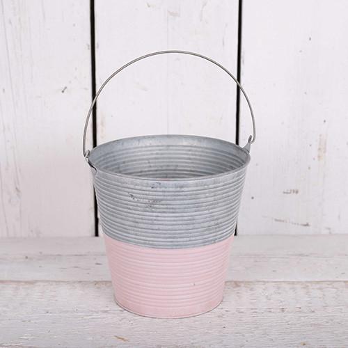 Grey & Pink Ribbed Zinc Buckets