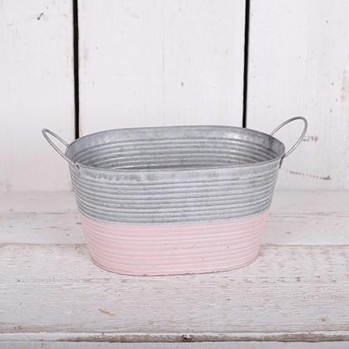 Grey & Pink Ribbed Zinc Troughs