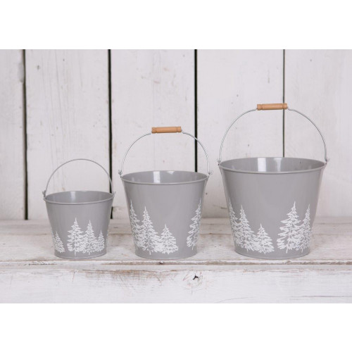 Round Grey Zinc Buckets with debossed Christmas Trees