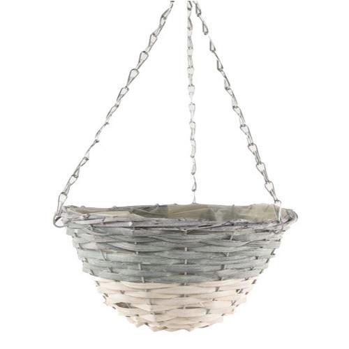 Dipped Grey/White Hanging Basket Round 20/Box