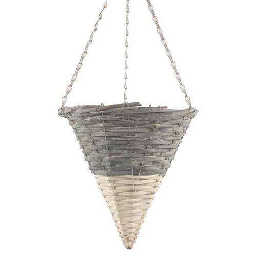 Dipped Grey/White Hanging Basket Cone 20/Box