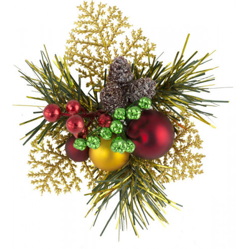 Christmas Pick Pine & Bauble (Red/Gold) - 12/Pack