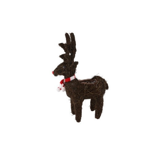 Christmas Standing Reindeer with Scarf 31cm - Each