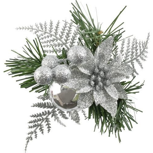 [34] Christmas Pick Fern With Glitter/Poinsettia Silver - Pack of 12