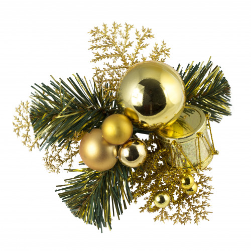Christmas Pick Drum & Baubles (Gold) - 12/Pack