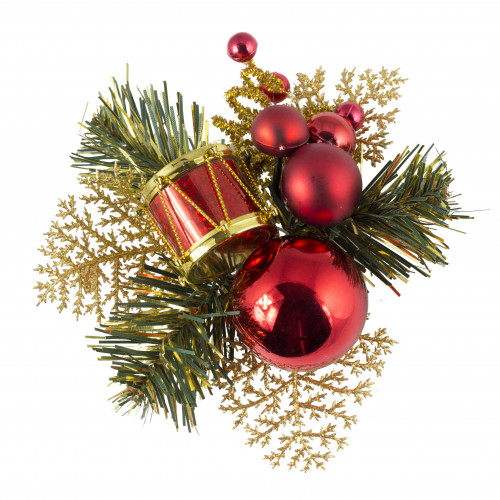 Christmas Pick Drum & Baubles (Red) - 12/Pack