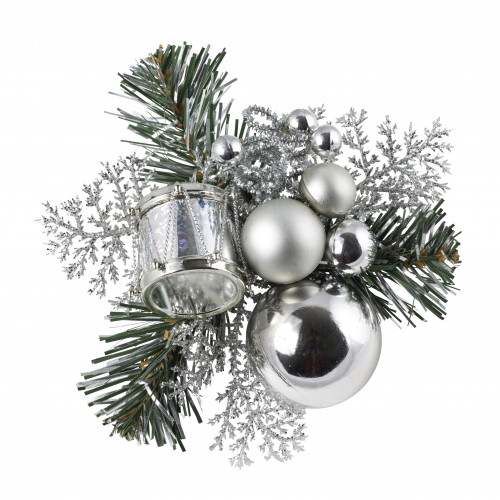 Christmas Pick Drum & Baubles (Silver)  - 12/Pack