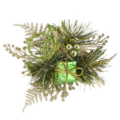 [08] Christmas Pick Holly & Horn (Champagne/Green)  - 12/Pack
