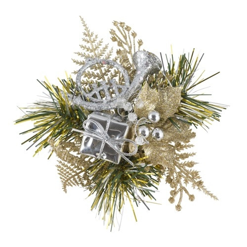 Christmas Pick Holly & Horn (Champagne/Silver)  - 12/Pack