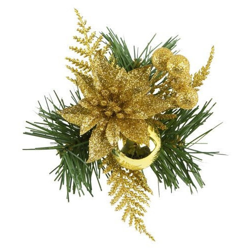 [32] Christmas Pick Fern With Glitter/Poinsettia Gold - Pack of 12
