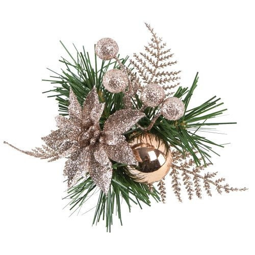 [31] Christmas Pick Fern With Glitter/Poinsettia Rose Gold - Pack of 12