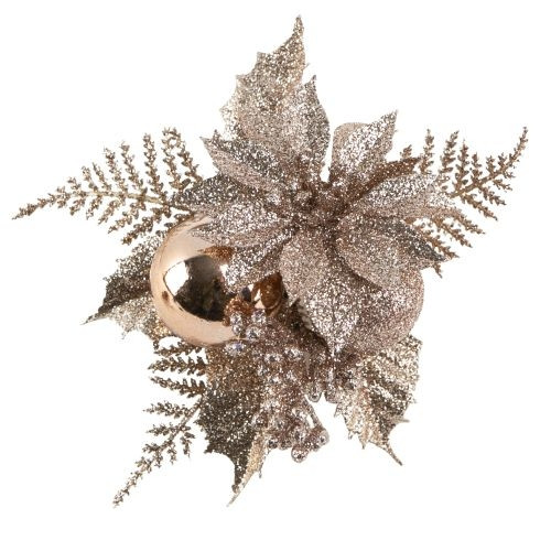Christmas Pick Flower and Berries Rose Gold - 12/Pack
